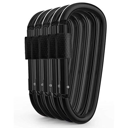 5Pcs Aluminium Carabiner D Shape Buckle Pack, Keychain Clip, Spring Snap Key Chain Clip Hook Schraubverschluss -