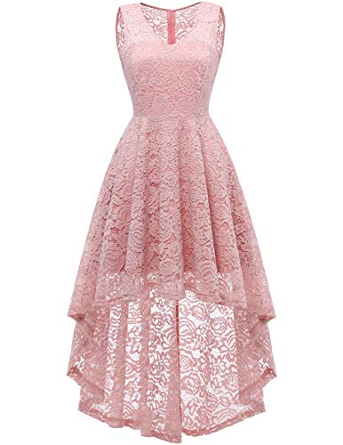 c3dee47a21af3f Dresstells Vokuhila Cocktailkleid elegant Spitzenkleid V-Ausschnitt  Ärmellos Floral Festliche Kleider Blush L