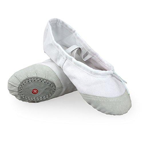 DoGeek Gute Qualität Ballettschuhe weich Spitzenschuhe Ballet Trainings Schläppchen Schuhe für Mädchen/Damen in den Größen (Kostüme Weißes Kleid Dance)