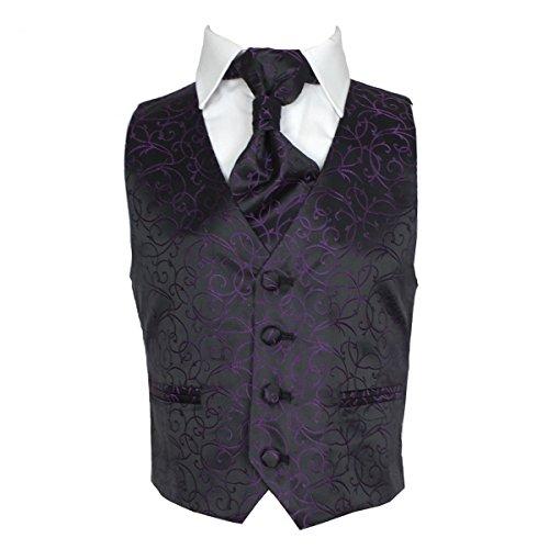 Jungen 2 Teilig Hochzeit Weste und Krawatte Set Paisley Muster in Schwarz und Lila 4 Jahre (Mikrofaser-satin-anzug)