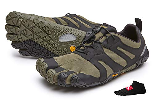 3d Ultra Trail Running-schuh (Vibram FiveFingers V-Trail 2.0 Men + Zehensocke, Size:43, Color:Ivy/Black)