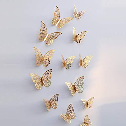 12 Stück 3D Schmetterlinge Wandsticker Haus Dekoration Wandtattoo Wandaufkleber Schmetterling Wanddeko Butterfly Wandsticker 3D Wandsticker Aufkleber Wandbilder Balkon Deko Wohnzimmer Rovinci