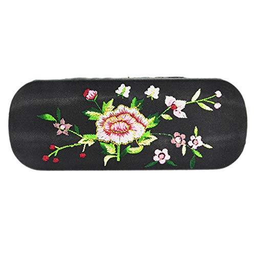 MJJKIO Nueva caja de gafas Flor bordada Floral Vintage Art Estuche rígido Gafas ópticas Gafas de lectura Gafas de sol Almacenamiento ProtectorNegro