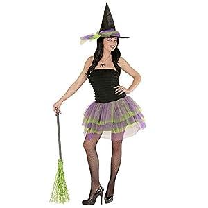 WIDMANN 02271 - Adulto Vestido de Traje de Bruja con el tutú y Sombrero, Talla S