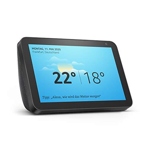Wir stellen vor: Echo Show 8 | Smart Display mit 8 Zoll großem HD-Bildschirm und Alexa, Anthrazit Stoff