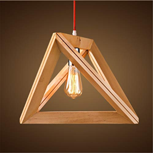 Pendelleuchte,Loft Pendelleuchte Lampenschir,Retro American Bedroom Living Room European Creative Personality Clothing Shop Cafe Country Triangle Wood Frame Chandelier