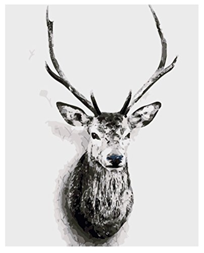 hlen Kits || Grau Gentleman Hirsch 50 x 40 cm || Malen nach Zahlen, DIGITAL Ölgemälde (Ohne Frame) (Skelett Für Halloween Malen)