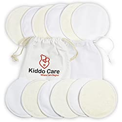 Kiddo Care Pads d'allaitement en bambou biologique lavable -12 BLACK PACK (6 paires) - Coussinets d'allaitement réutilisables, coussinets de soutien-gorge, étanches, ultra-doux, imperméables, coussin