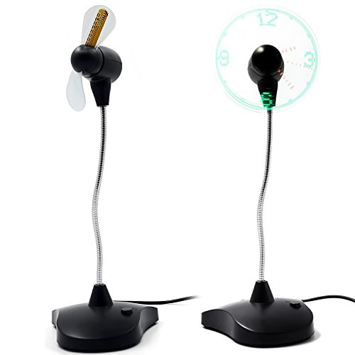 Preisvergleich Produktbild Flexiblem Hals Portable USB Ventilator mit LED-Uhr Display Büro Schreibtisch Tisch Elektrische Uhr Lüfter mit Ständer Schwarz