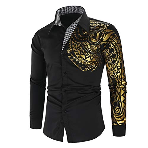 Aoogo Herren Digitaldruck Poloshirts Männer Freizeit Revers drucken Lange Ärmel Shirt Casual Umlegekragen Button Print Langarm Top Bluse Herren Bunt Drucken Body Fit Shirt