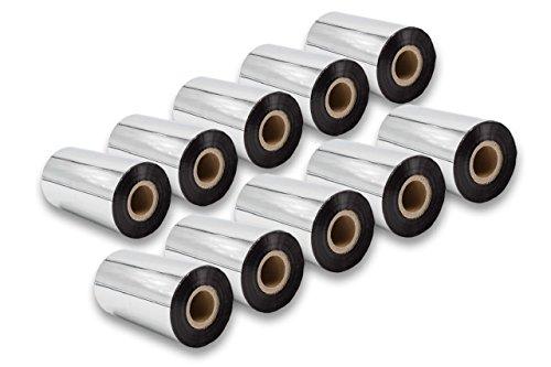 vhbw 10x Thermo-Folie Thermotransferband schwarz 110mm für Fax Drucker Zebra Z6M, Z6M+, ZM400, ZM600, ZT200-Serie, ZT220, ZT230 -