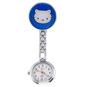 Century Ansteckuhren Klippuhren Bunte Auswahl an Sister Uhren Pulsuhren Schwesternuhren für Pflegekräfte (Kätzchen blau)