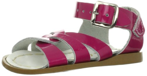 Salt Water Sandals Original Kids White Leather Sandals Shiny Fuchsia