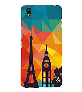 Fiobs paris abstract lowpoly art silone effect timetower Designer Back Case Cover for OnePlus X :: One Plus X