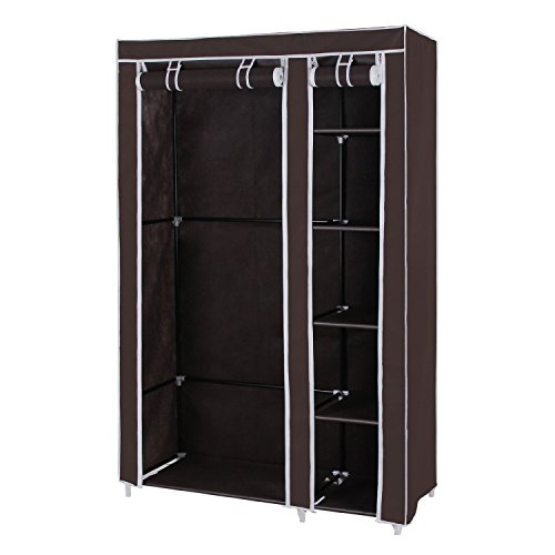 House of Quirk Fancy and Portable Foldable Closet Wardrobe Cabinet Portable Multipurpose Clothes Closet Portable Wardrobe Storage Organizer with Shelves 3.5 Feet Folding Wardrobe Cupboard Almirah Foldable Storage Rack Collapsible Cabinet (Brown) (Need to Be Assembled)