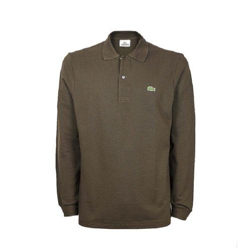 Lacoste Men's Khaki Long Sleeve Polo Blouse In Size 7 Green