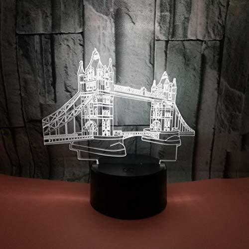 WZYMNYD Nouvelle Construction Tourisme Souvenir Création LED Night Light Bridge Touch Coloré Décoloration 3D Petite Lampe de Table