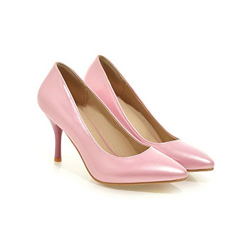 AalarDom Damen Lackleder Spitz Schließen Zehe Hoher Absatz Ziehen Auf Rein Pumps Schuhe Pink