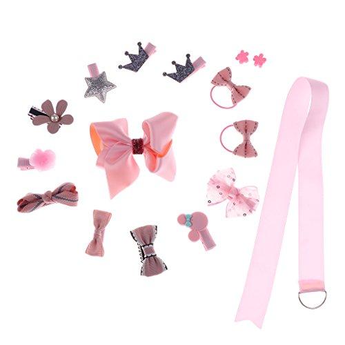 Homyl 16er Pack Haarklammer mit Schleife/Sterne/Perlen/Krone Haarschleife Haar Bögen Haarspangen für Baby Mädchen Beste Geschenk - ()