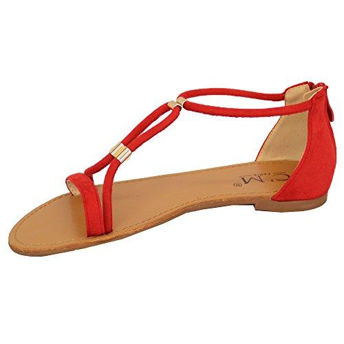 Sandales Plates Femmes Femmes Cuir Suédé Look Bout Ouvert Chaussures Spartiates Mode Été Rouge - 8839237