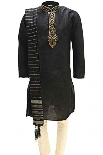 Krishna Sarees MKP9005 Schwarz und Elfenbein Herren Kurta Pyjama Indian Suit Bollywood Sherwani (Chest 38 inches)