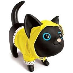 Hucha en forma d gato con chubasquero, color negro y amarillo