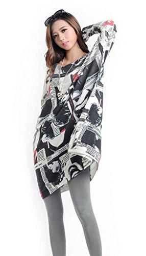 Bigood Pull Grande Taille Femme Tricoté Tops à Manche Longue Sweat-shirt Col Rond Imprimé Blanc #M
