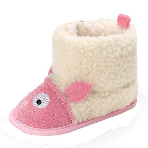 12shage Nette Baby Mädchen-weiche alleinige Schnee Aufladungs Krippe Schuhe (Size:11, Pink)