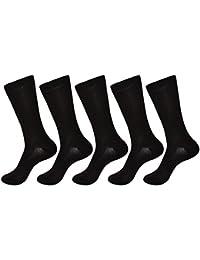 Me Stores Men's Solid Plain Black Socks (Pack Of 5)