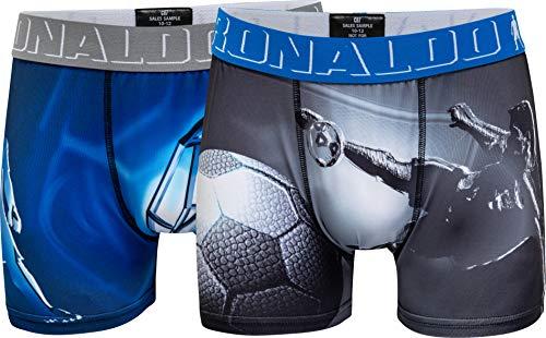 CR7 Cristiano Ronaldo - Boys - Enganliegende Boxershorts (Retroshorts) für Jungen - 2-Pack - Stylische Motiv-Prints - Blau/Grau - Grösse 158/164 (13-15 Jahre) (CR7-8412-38-106-158/164)