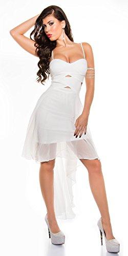 Highlow Trägerkleid mit sexy Einblick Weiß
