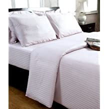Homescapes Funda de almohada Confort con rayas de satén 40 x 40 cm de color Purpura en 100% algodon egipcio con una densidad de 130 hilos/cm²
