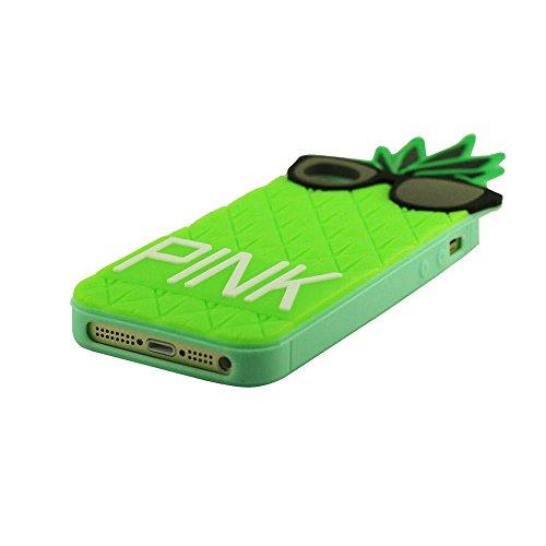 Mode Apple iPhone 5 SE 5S 5G Coque Housse de Protection Protective Case silicone Souple Doux Fruit Ananas 3D Forme Unique Individualité Conception Divers Couleur Vert