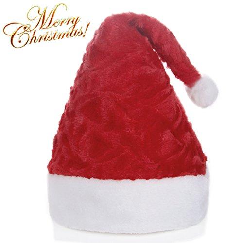 Santa Hut Weihnachtsmützen, Erwachsene Vater Weihnachten Hüte Warm weich Unisex Geschenk für Santa Party Festival Familie Hüte Weihnachten (rot)