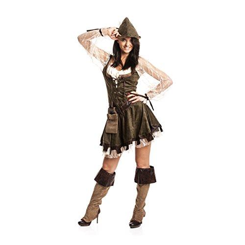 Kostümplanet® Robin Hood Kostüm Damen sexy komplettes Faschingskostüm Damen-Kostüm kleine und große Größen (Weibliche Superhelden Mit Schwarzen Kostüm)