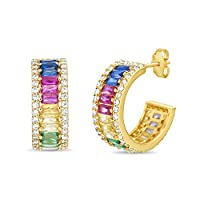 Devin Rose Yellow Gold Plated Sterling Silver Rainbow Baguette Cubic Zirconia Huggie Hoop Earrings for Women with Post and Nut Backs