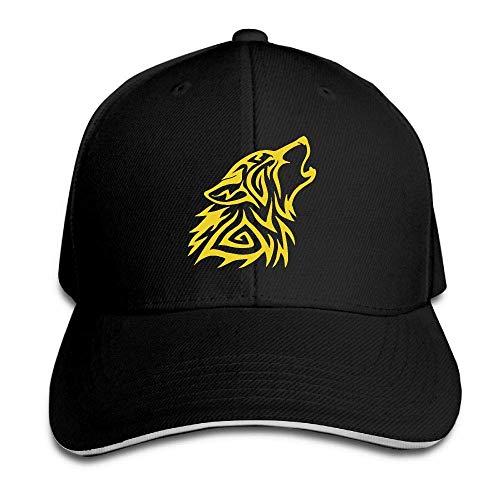 AllenPrint Adult Golden Fenrir Wolf Cotton Lightweight Adjustable Peaked Baseball Cap Sandwich Hat Men Women
