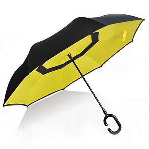 Ombrello con meccanismo di apertura riverso invertito utilissimo in caso di pioggia rovesciato, C Forma impugnatura dritta Rod doppio strato invertito Ombrello per auto all'aperto (Giallo)