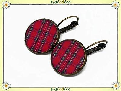 Boucles d'oreilles TARTAN or 24K black watch bleu vert carreaux écossais résine or cadeaux personnalisés cadeau noel amis anniversaire cérémonie mariage invités fête des mères couples