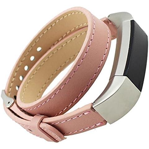 For Fitbit Alta, Ouneed ® Recorrido doble de cuero genuino reloj de pulsera de la correa de banda para Fitbit Alta (Rosado)