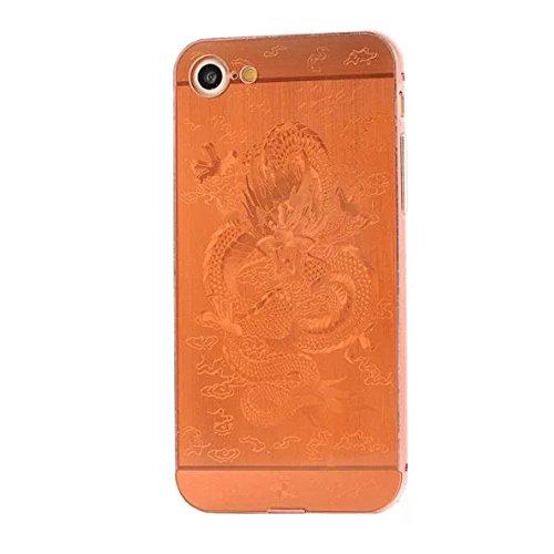 iPhone 7 Luxus Metall Aluminium Rahmen Hülle CHENXI Neo Ultra-dünne Hinteres Bedienfeld + Metall Aluminium Rahmen Protection Schutzhülle mit Schöne Muster für iPhone 7 (4.7 Inch) Rose Gold