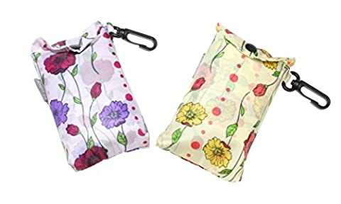 Floral / Flower Design Fold Up Shopping Bag In Pouch With Clip Attachment - Design 4 - YOU WILL RECEIVE ONE BAG AT RANDOM FROM THE COLOURS