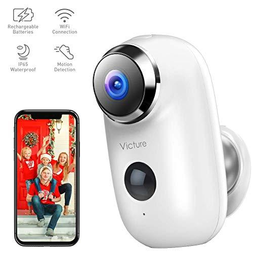 Victure 1080P Akku Überwachungskamera Aussen WLAN Kamera Wireless Home IP Kamera mit PIR Bewegungsmelder und 2-Wege Audio IR Nachtsicht IP65 Wasserdicht