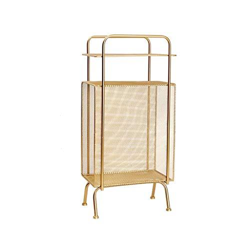 CXQ Europäische Moderne schmiedeeiserne Zeitungsständer-Rack-Implementierungstyp Einfache Metallbett-Bücherregal-Bücherregal Gold