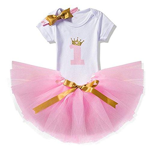 Mädchen Rosa 1 Stück (Prinzessin Kleid Baby Neugeborenes Mädchen 1./2./3 Geburtstag Kleidung Set 3 Stück Romper + Rock Tütü + Stirnband Geschenk Verkleidung Rosa/1Jahr)
