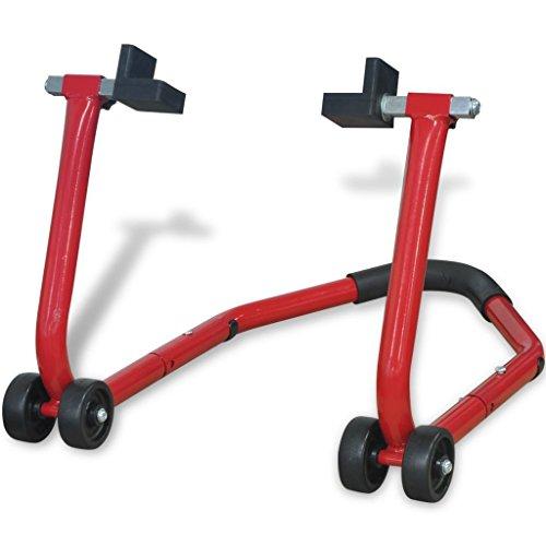 vidaXL Caballete Modelo Trasero para Moto Color Rojo Material Acero con Acabado...