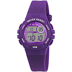 Tikkers children's digital Watch with purple Dial digital Display and purple silicone Strap TK0083