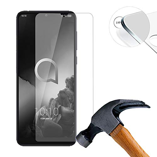 Lusee 2 X Pack Panzerglasfolie für Alcatel 3L 2019 5.9 Zoll Tempered Glass Hartglas Schutzfolie Folie Bildschirmschutz 9H (Nur den flachen Teil abdecken)