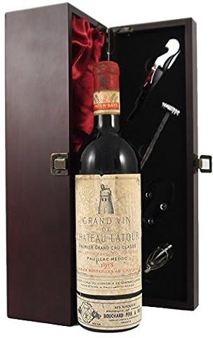 Chateau Latour 1958 1er Grand Cru Classe Pauillac edler Wein in einer mit Seide ausgestatetten Geschenkbox. Da zu vier Wein Zubehör, Korkenzieher ,Giesser ,Kapselabschneider ,Weinthermometer (Pauillac Grand-)