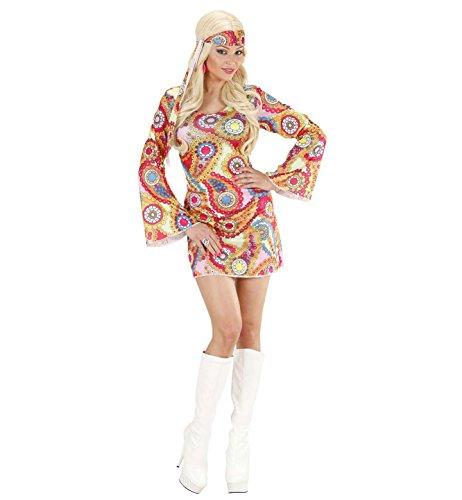 Widmann 7618H - Erwachsenenkostüm Hippie Girl, Kleid und Stirnband, Größe (Disco Kostüm Hippie Halloween)